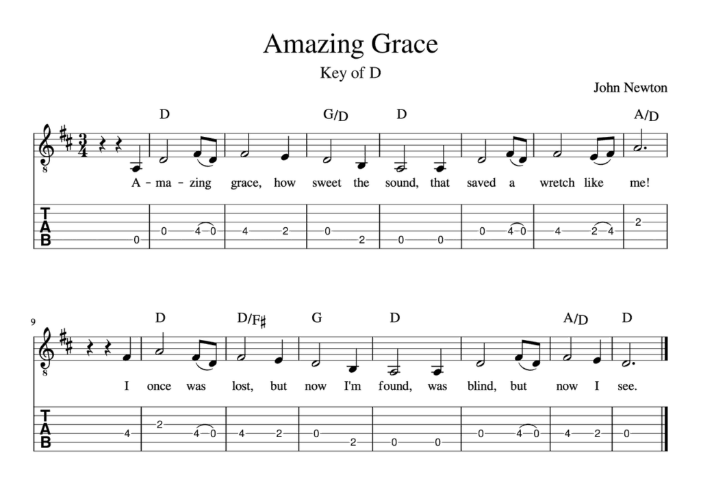 worship guitar lessons - Amazing Grace - Sheet Music - Tabs - Chords
