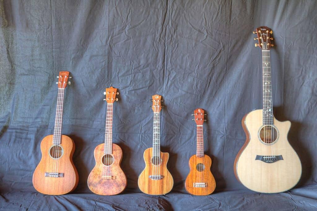size comparison guitar vs ukulele